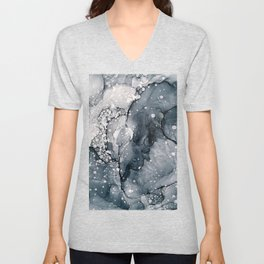 Icy Payne's Grey Abstract Bubble / Snow Painting Unisex V-Neck