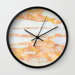 Rose Gold 24-Karat Glitter Marble on Ebony White Wall Clock