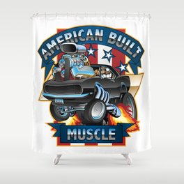 American Built Muscle - Classic Muscle Car Cartoon Illustration Shower Curtain