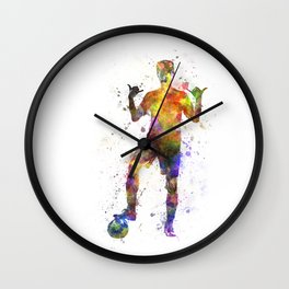 soccer football player young man saluting Wall Clock