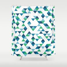 Triangles Blue and Green Shower Curtain