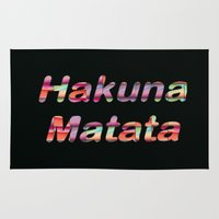 hakuna Area & Throw Rugs featuring Hakuna Matata by Laura Santeler