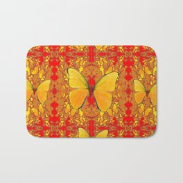GOLDEN YELLOW BUTTERFLIES RED PATTERN ABSTRACT Bath Mat