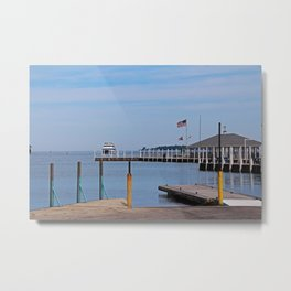 Watching the Ferry Metal Print