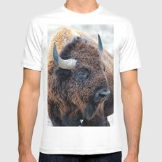 In The Presence Of Bison X-LARGE Mens Fitted Tee White