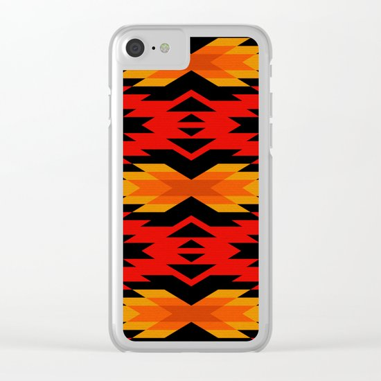 Tribal pattern - red Clear iPhone Case
