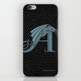 Dragon Letter A, from Dracoserific, a font full of Dragons. iPhone Skin