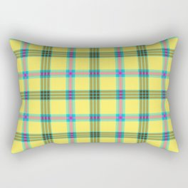 lemon love plaid with a dash of pink and blue Rectangular Pillow