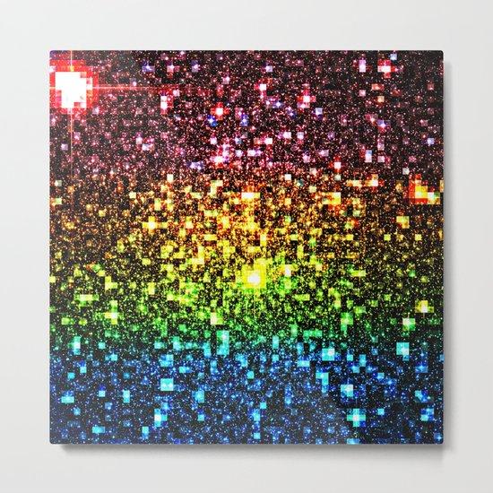 Geometric Galaxy Stars : Rainbow Metal Print
