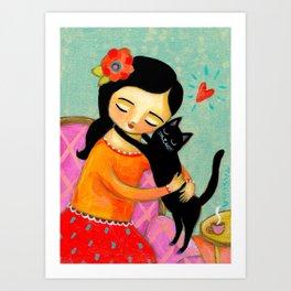 Black Cat Hug sweet painting by artist Tascha Art Print