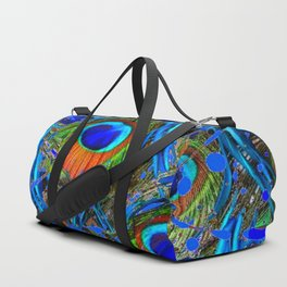 FEATHERY BLUE PEACOCK ABSTRACTED  FEATHERS ART PILLOWS Duffle Bag
