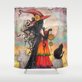 Witch Way Halloween Witch and Cat Fantasy Art by Molly Harrison  Shower Curtain