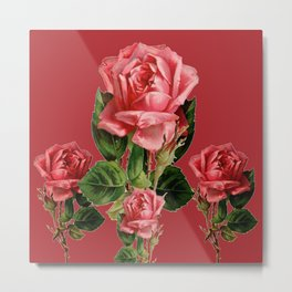 ROSE MADDER ANTIQUE VINTAGE ART PINK ROSES Metal Print