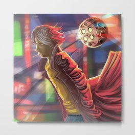 ciberpunk suspect walking in the city Metal Print