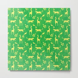 Animal universe. Yellow silhouettes of wild animals. African giraffes, leopards, cheetahs. snakes, exotic tropical birds. Tribal ethnic nature bright green grunge distressed pattern. Metal Print