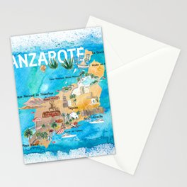 Lanzarote Canarias Spain Illustrated Map with Landmarks and Highlights Stationery Cards