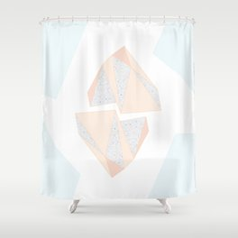 Abstract Iceberg Inspired with Terrazzo Patterns Shower Curtain
