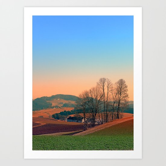 Trees, panorama and sunset | landscape photography Art Print