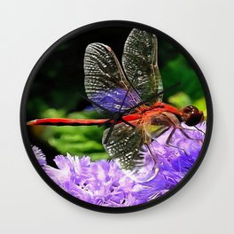 Red Dragonfly on Violet Purple Flowers Wall Clock