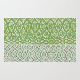 painterly diamonds in washed out lime Rug