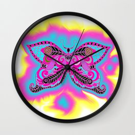 Multicoloured Butterfly Wall Clock