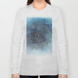 Indigo Blue Soft Blue White Mandala Long Sleeve T-shirt
