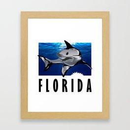 Florida Shark in Deep Blue Framed Art Print