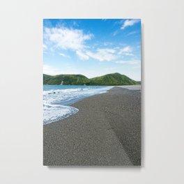 Blue Sky Black Sand Photography Print Metal Print