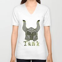 skyrim V-neck T-shirts featuring Tank by Mallow