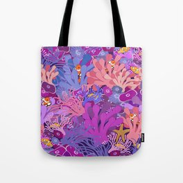 Block Party on the Reef - Clownfish Anemone Marine Sea Life Coral Tote Bag