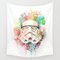 stormtrooper Wall Tapestries featuring Stormtrooper by Veronika Weroni Vajdová