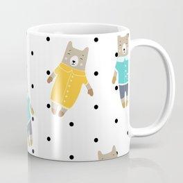 Cute bears in dotted background Coffee Mug