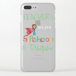 School Teachers Are Superheroes Distressed product Clear iPhone Case