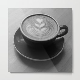 Cafe Heart - Black and White Metal Print