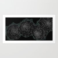 Black and White Dance of Flowers Art Print