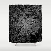 brussels Shower Curtains featuring Brussels by Line Line Lines