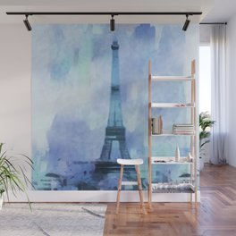 Blue Eifel Tower Paris France abstract painting Wall Mural