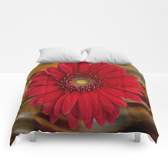 Red Daisy Abstract Comforters