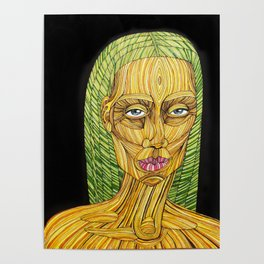 Spaghetti Lady With Green Hair Poster