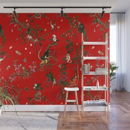 Monkey World Red Wall Mural