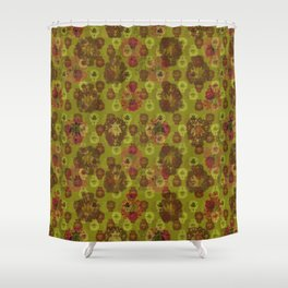 Lotus flower - curry green woodblock print style pattern Shower Curtain