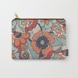 Colorful Vintage Floral Pattern Carry-All Pouch