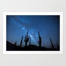 Cacti in the Desert before the Stars  Art Print