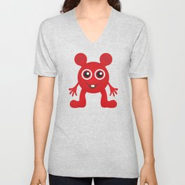 Red Smiley Man Unisex V-Neck