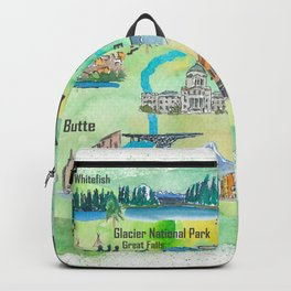 USA Montana State Illustrated Travel Poster Favorite Map Backpack