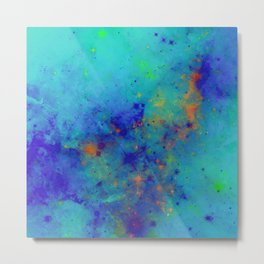 Blue Atmoshpere - Abstract in green, blue, orange and red Metal Print