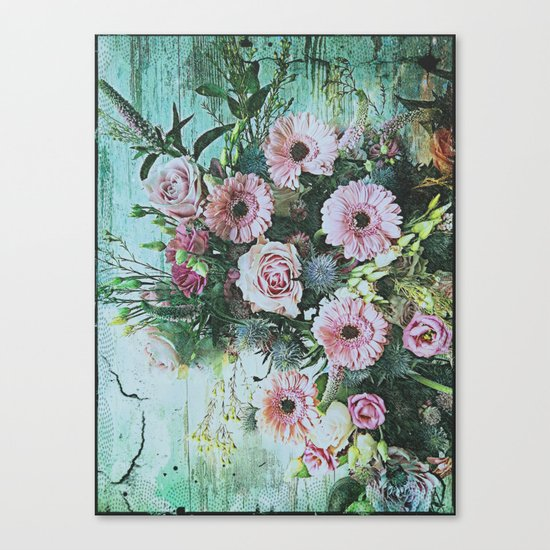 Shabby Pastel Floral Still Life Canvas Print