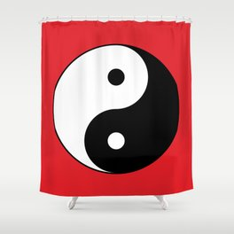 Yin and yang Symbol on red Shower Curtain