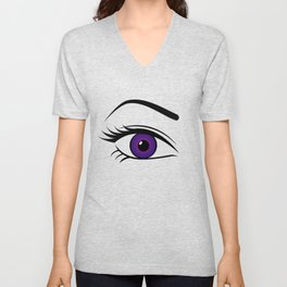 Violet Right Eye Unisex V-Neck