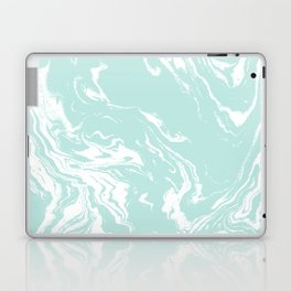 Miya - spilled ink abstract swirl marbled painting marble mint white texture cell phone case Laptop & iPad Skin